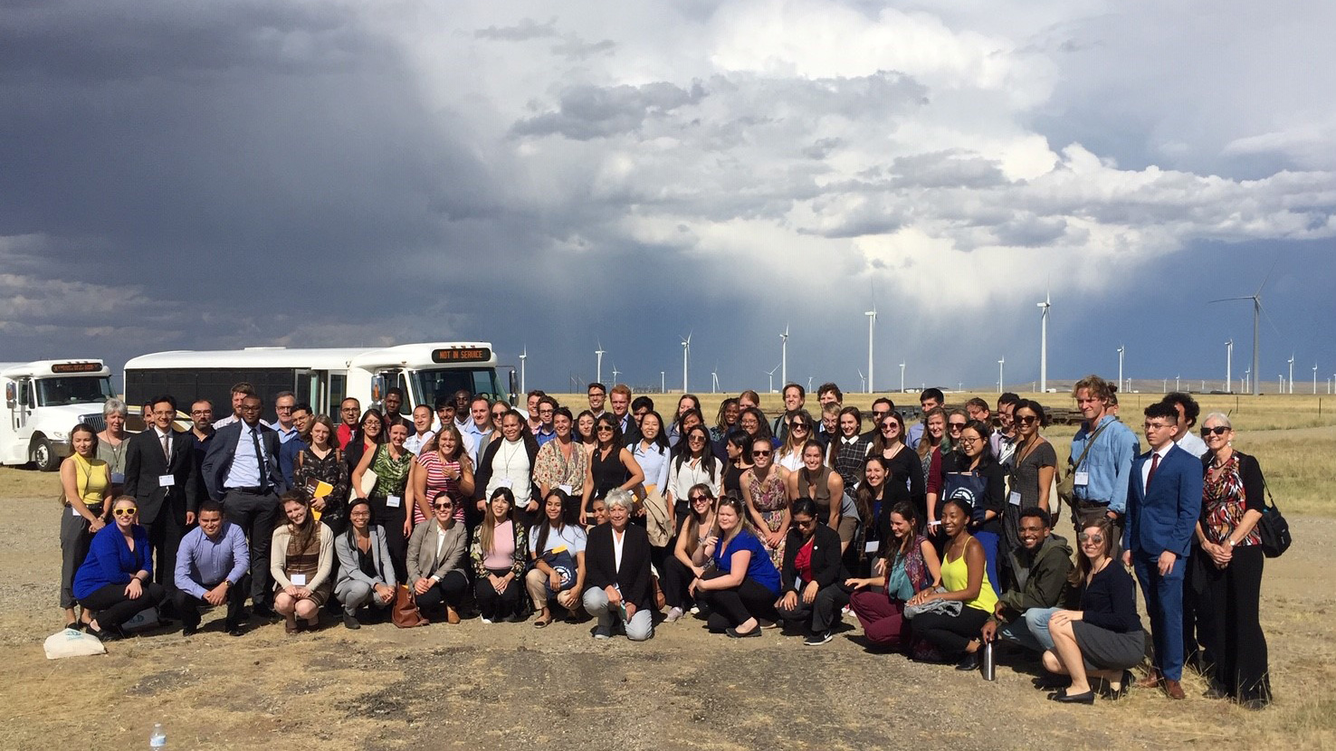 Group photo at wind farm